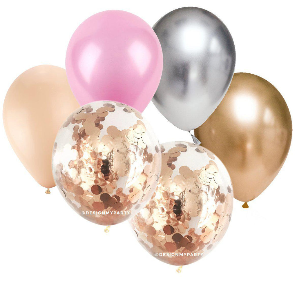 Blush, Pink, Silver Gold Chrome with 2 Rose Gold Copper Confetti Balloon Bouquet (12 Pack)-Party Love