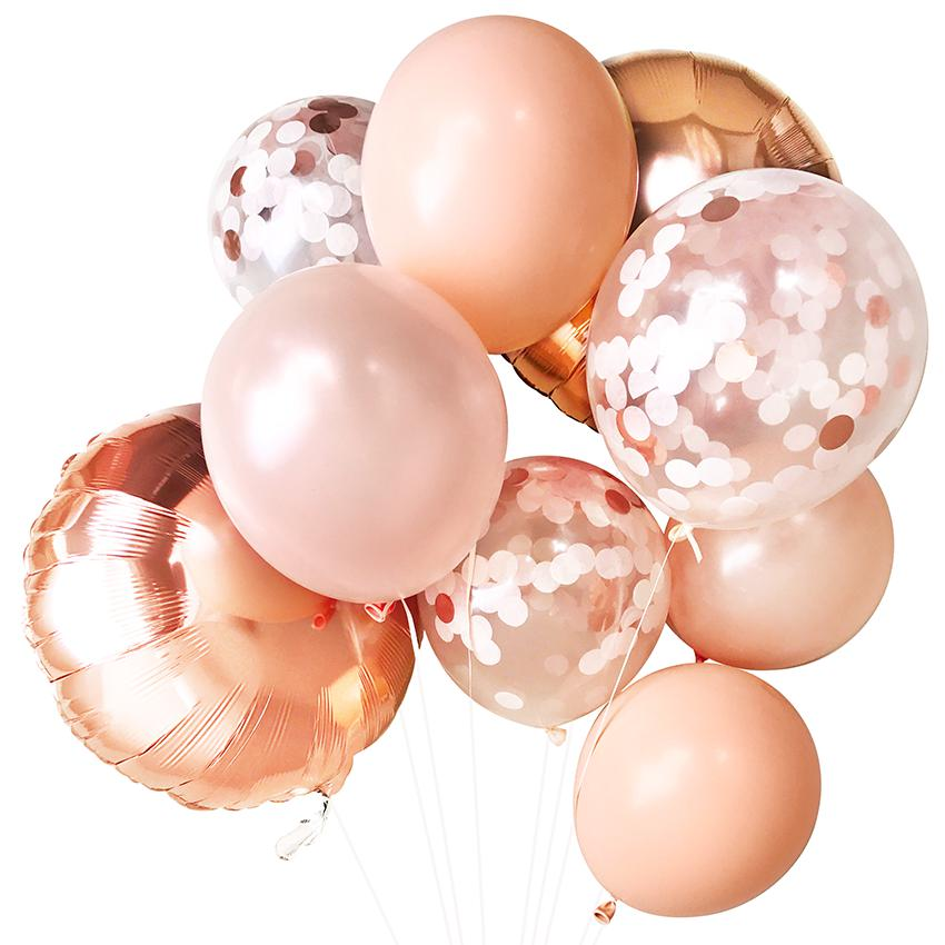 Blush & Rose Gold Balloon Bouquet (9 Pack)-Party Love
