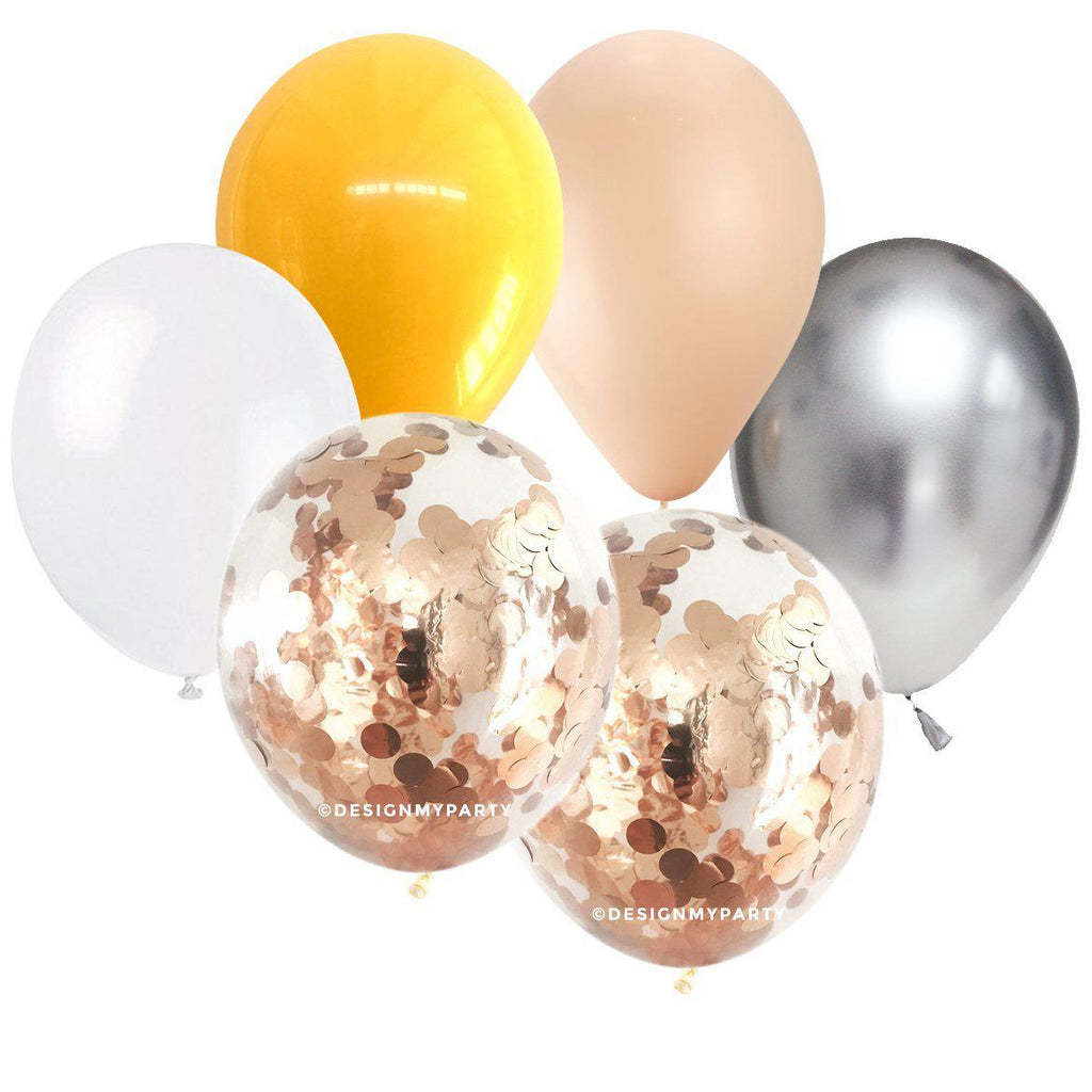 Blush, White, Goldenrod, Silver with Rose Gold Copper Confetti Balloon Bouquet (12 Pack) 12/36-Party Love