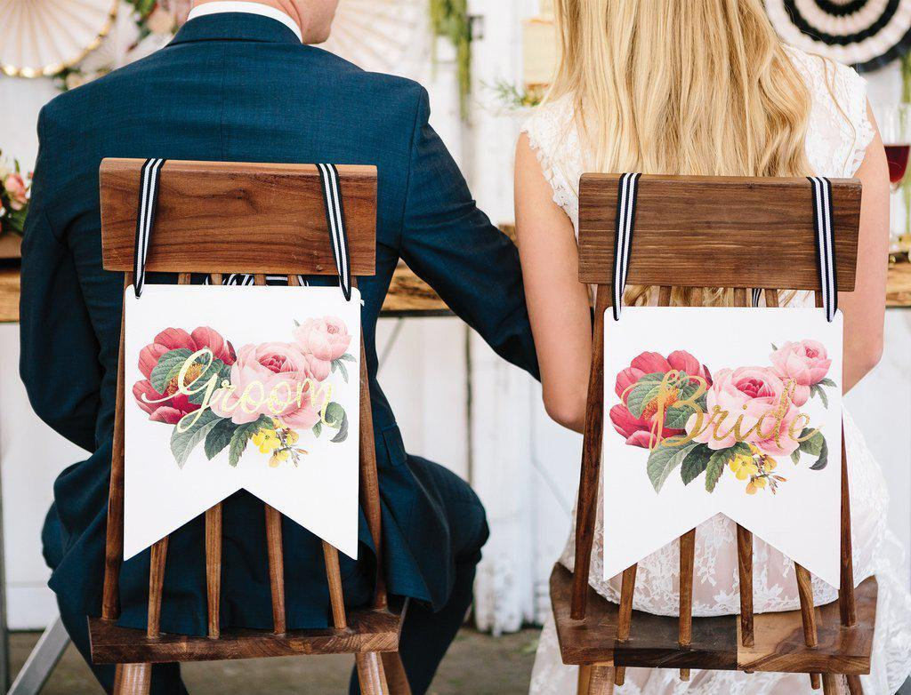 Bride & Groom Floral Botanical Chair Signs-Party Love