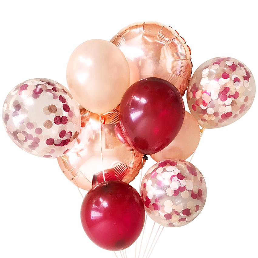 Burgundy & Blush Balloon Bouquet (9 Pack)-Party Love