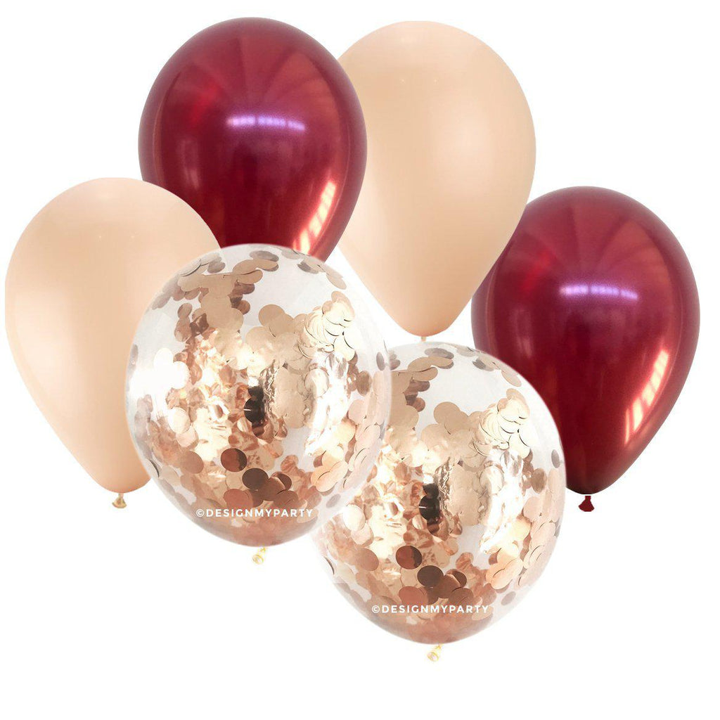 Burgundy, Blush with 2 Pink Rose Gold Confetti Balloon Bouquet (12 Pack)-Party Love