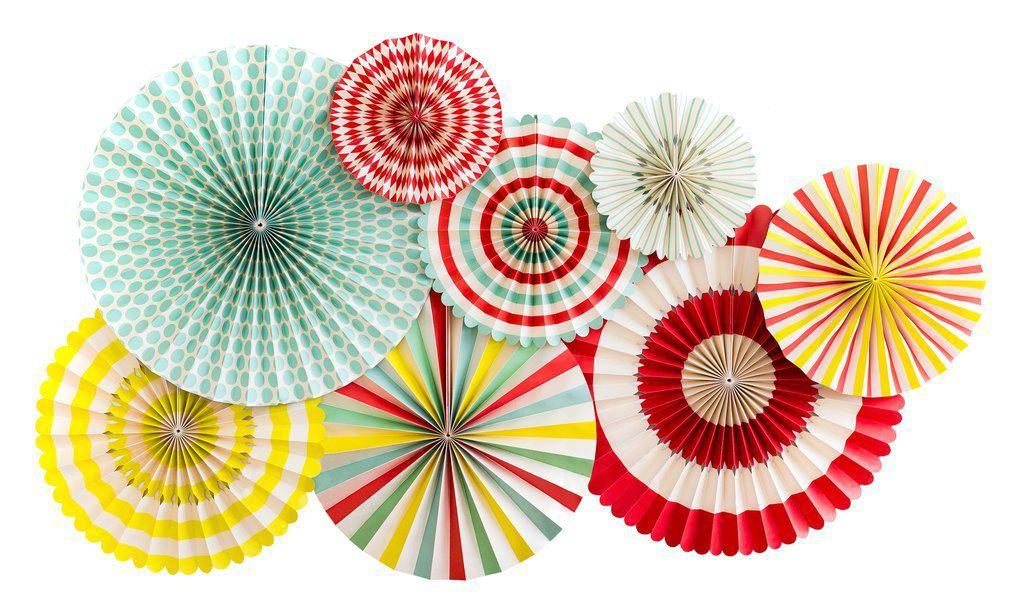 Carnival Party Fans - Yellow, Mint, Red (Pack of 8)-Party Love
