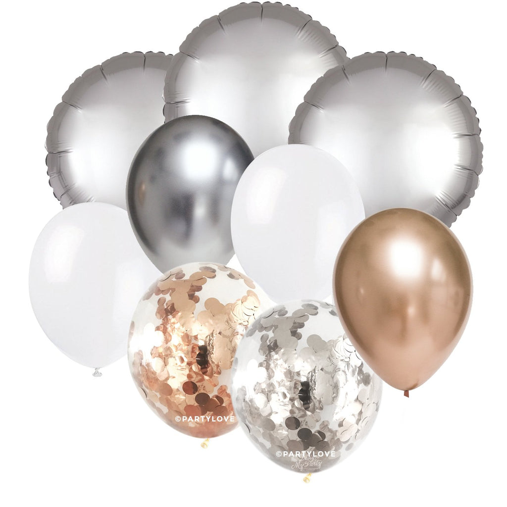Champagne Glam – Luxe Chrome Confetti Balloon Bouquet (9 Pack)-Party Love