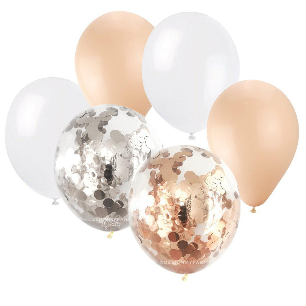 Champagne Glam – Silver Rose Gold Blush Confetti Balloon Bouquet (12 Pack)-Party Love