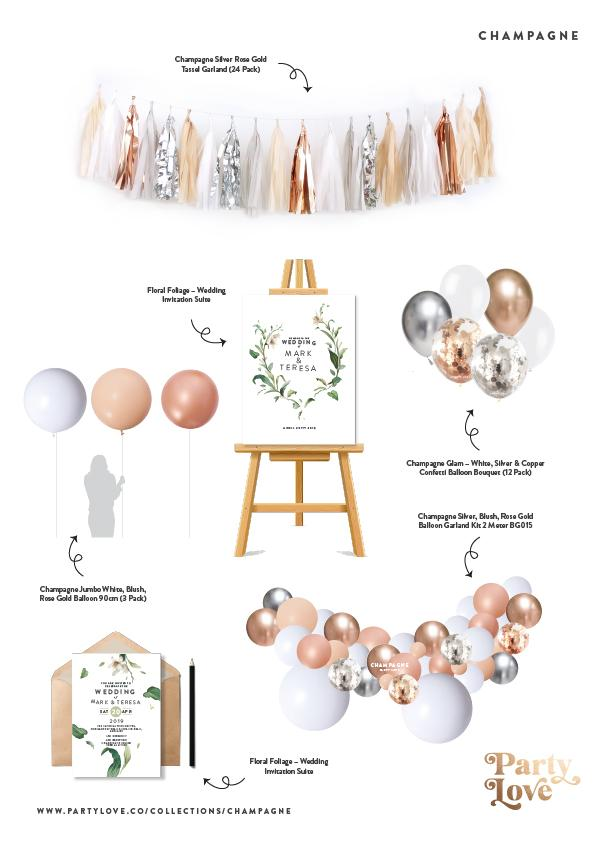Champagne Glam – White, Silver & Copper Confetti Balloon Bouquet (12 Pack)-Party Love