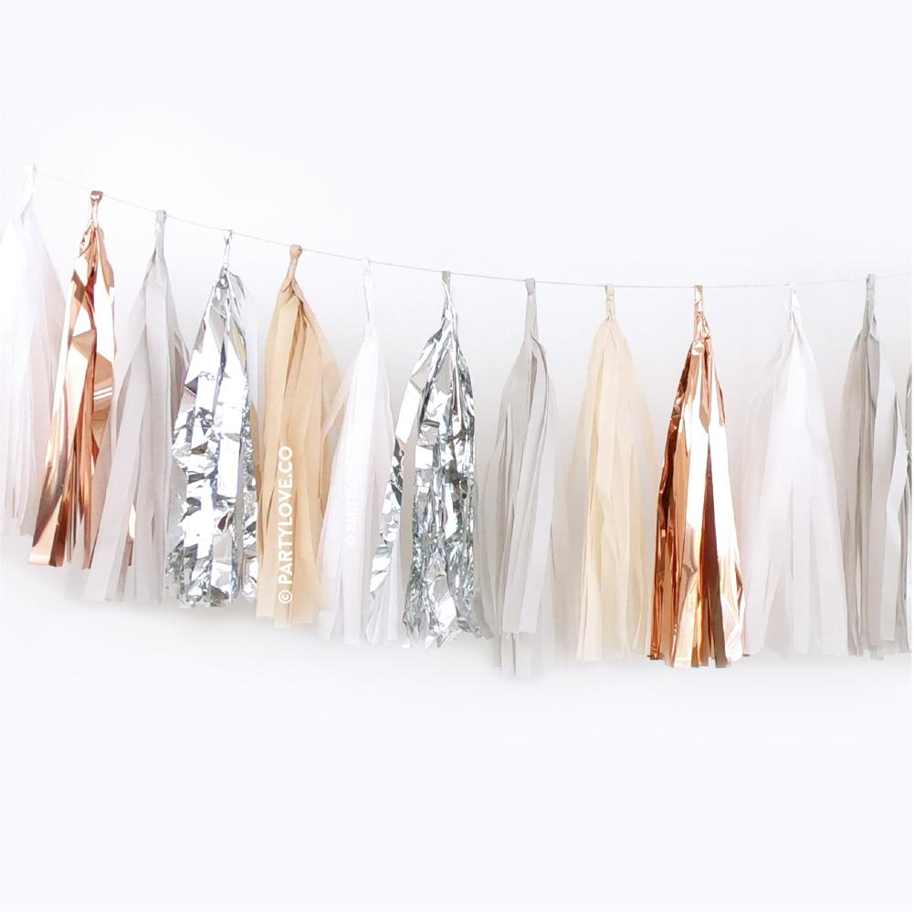 Champagne Silver Rose Gold Tassel Garland (24 Pack)-Party Love