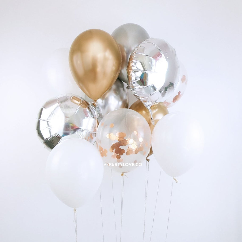 Champange Silver, Gold, Rose Gold Confetti Balloon Bouquet (12 Pack)-Party Love