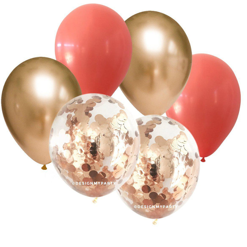 Coral & Gold with Gold Copper Confetti Balloon Bouquet (12 Pack)-Party Love