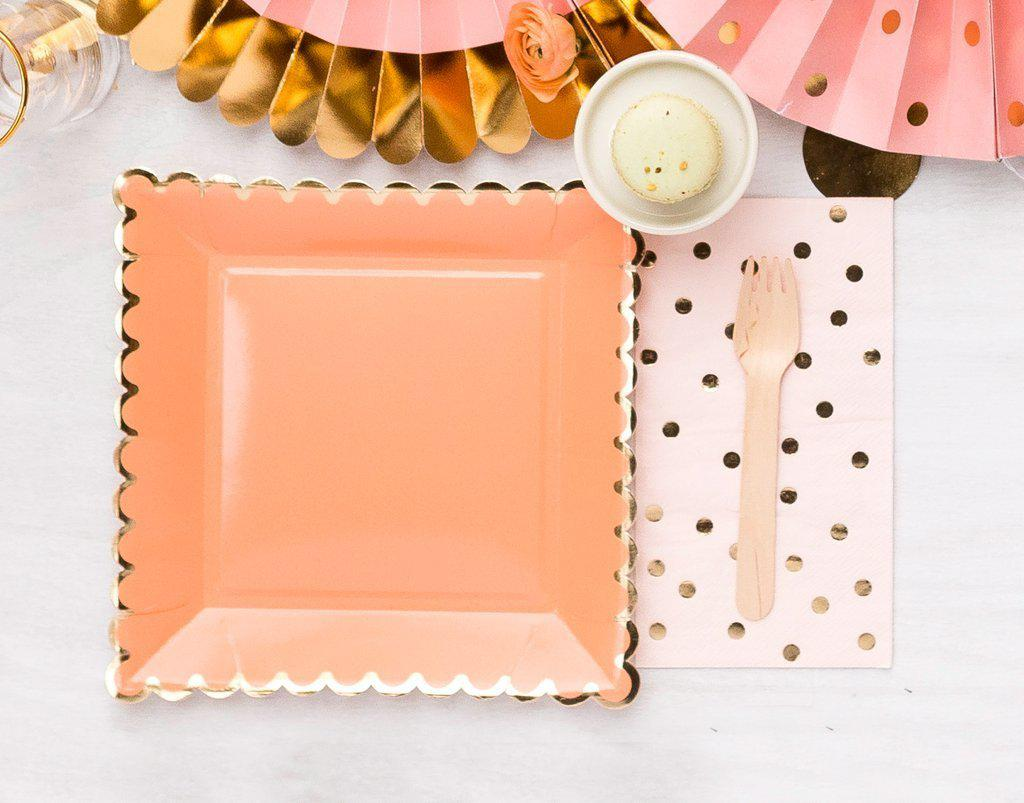 Coral Peach Gold Large Square Party Plates (12 Pack)-Party Love