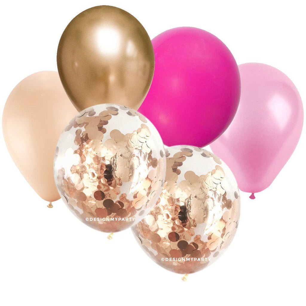 Cotton Candy Glam – Gold, Pink, Rose Gold Copper Balloon Bouquet (12 Pack)-Party Love