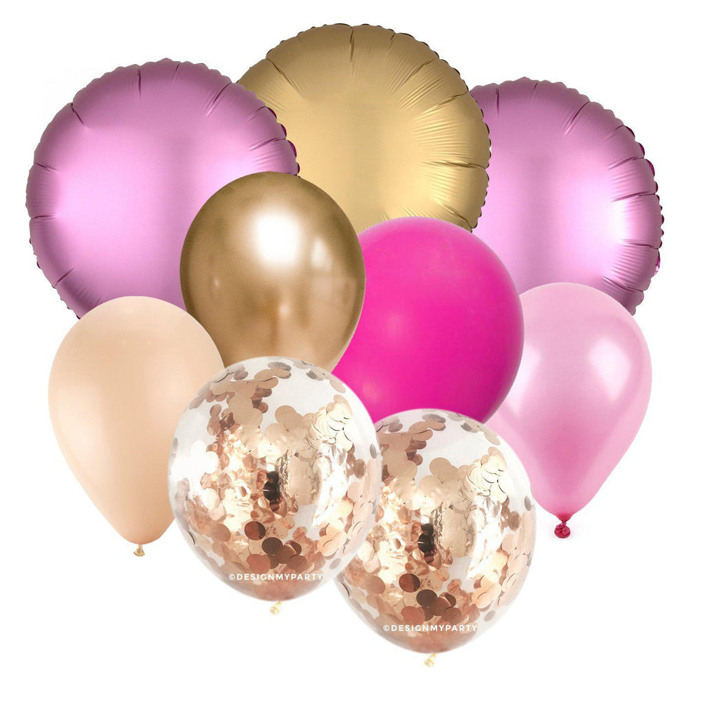 Cotton Candy Glam – Luxe Chrome Confetti Balloon Bouquet (9 Pack)-Party Love