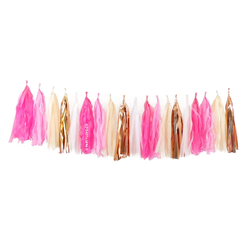 Cotton Candy Glam – Pink, Coral Gold Tassel Garland-Party Love