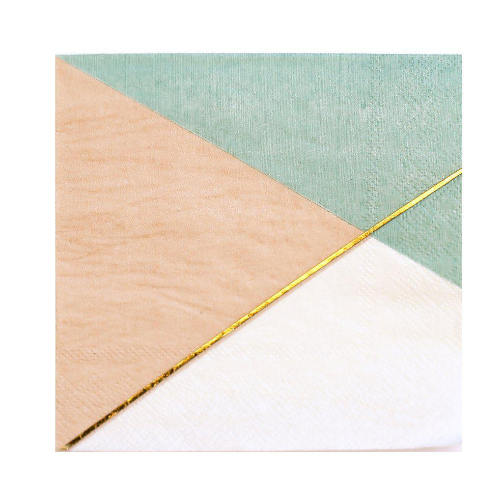 Desert Rose - Colorblock Lunch Paper Napkins, Peach, Mint, Gold-Party Love