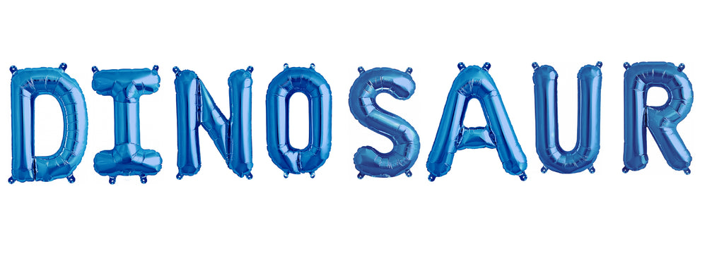 "Dinosaur Letters 16"" Blue Foil Balloons-Party Love"