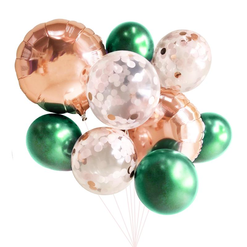 Emerald Green & Rose Gold Balloon Bouquet (9 Pack)-Party Love