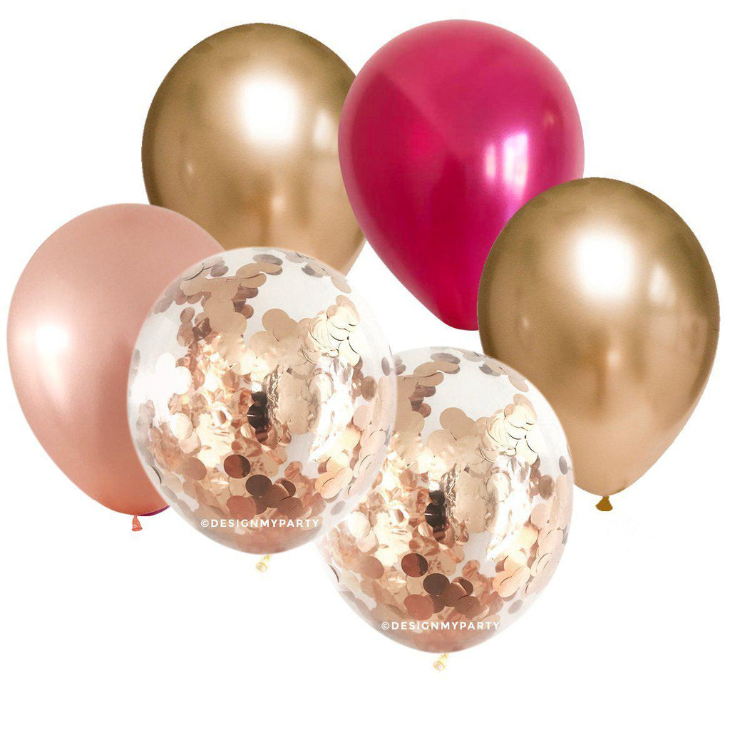 Fever Glam – Copper Confetti Balloon Bouquet (12 Pack)-Party Love