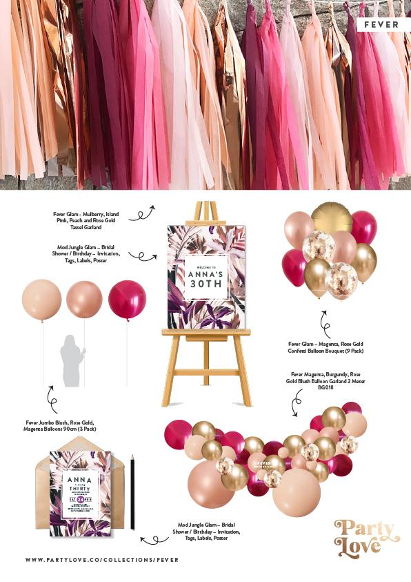 Fever Glam – Magenta, Rose Gold Confetti Balloon Bouquet (9 Pack)-Party Love