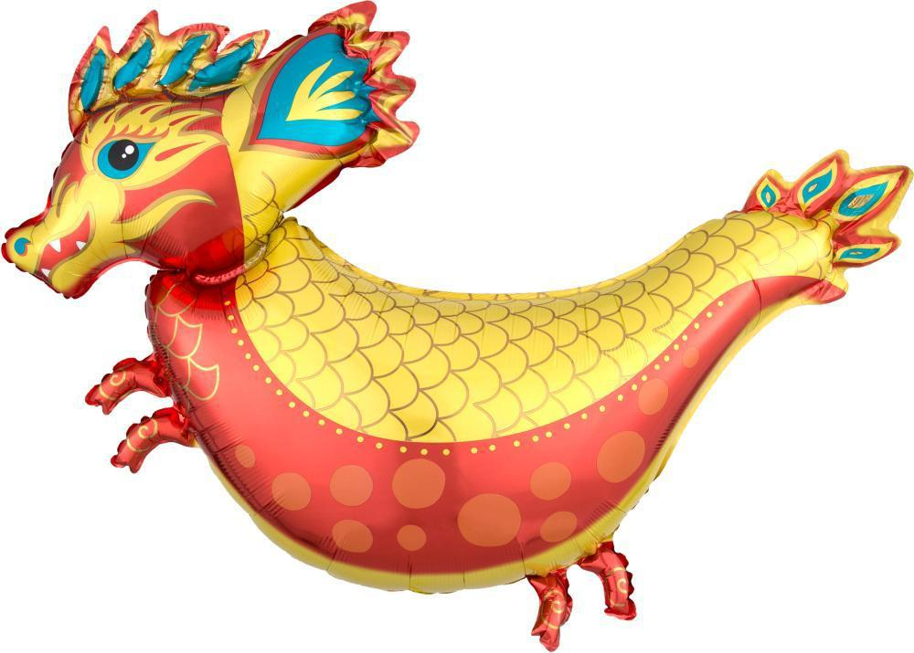 Fiery Dragon Foil Balloon 96cm-Party Love