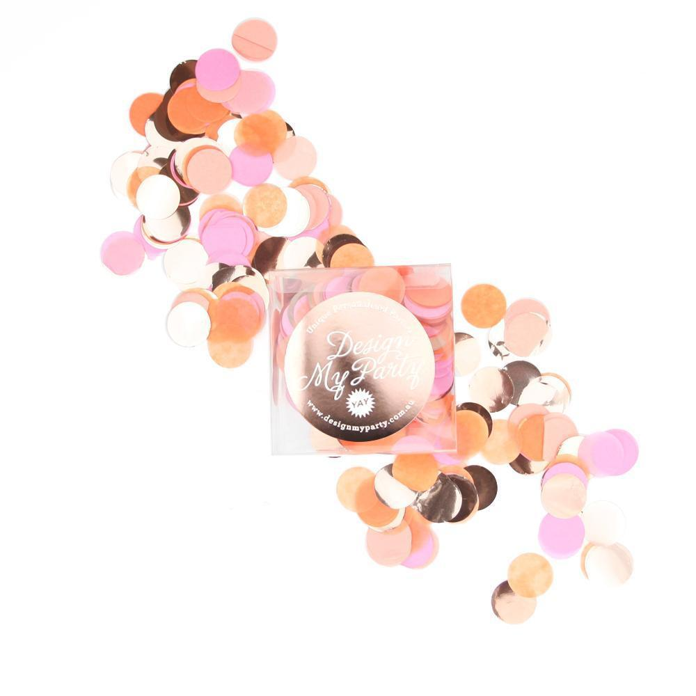 Flamingo Glam Confetti -Raspberry, Peach, Apricot, Rose Gold Copper-Party Love