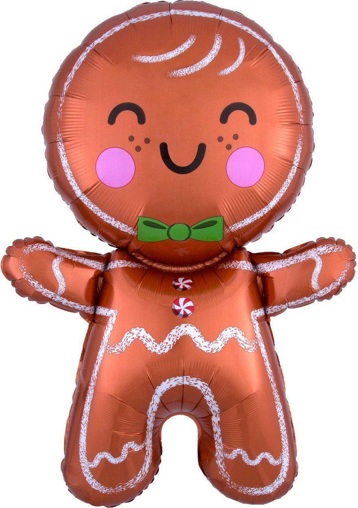 Gingerbread Man Luxe Foil Balloon - Christmas Balloons-Party Love