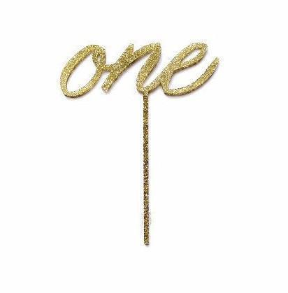 Glitter Gold One Acrylic Cake Topper-Party Love
