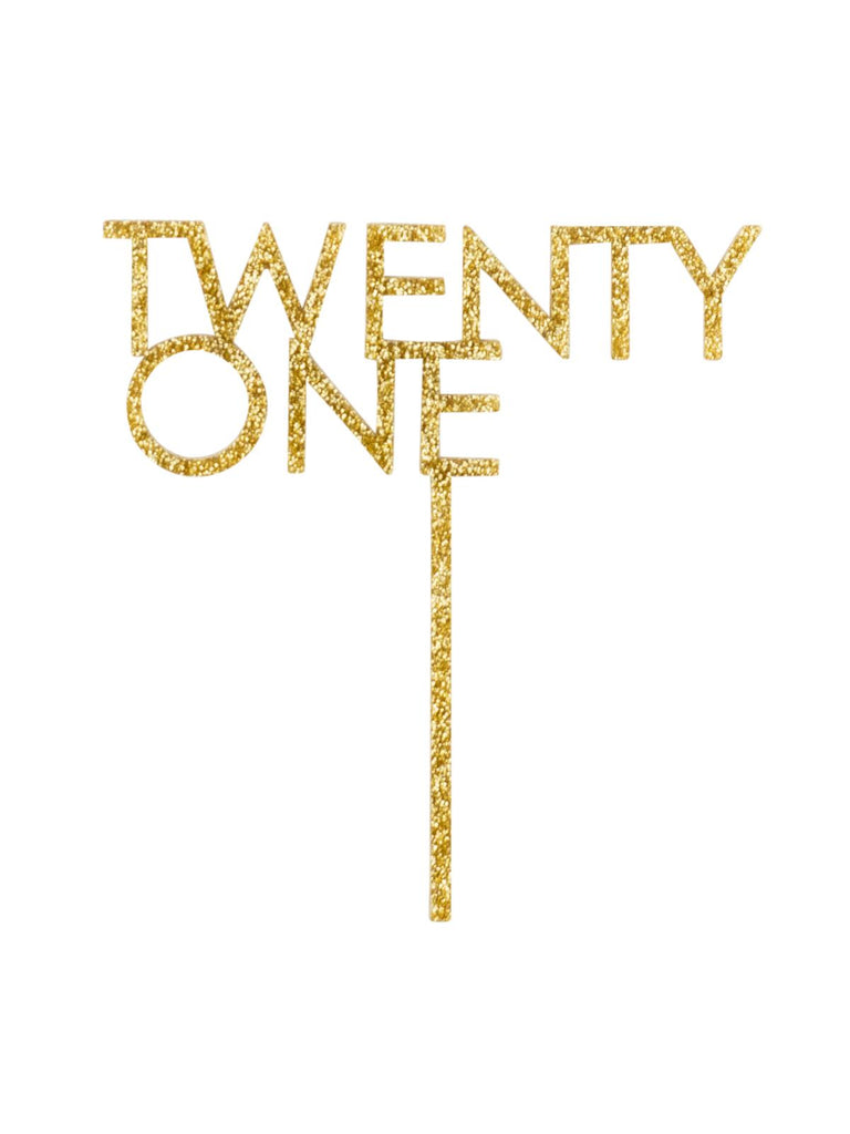 Glitter Gold Twenty One Acrylic Cake Topper-Party Love