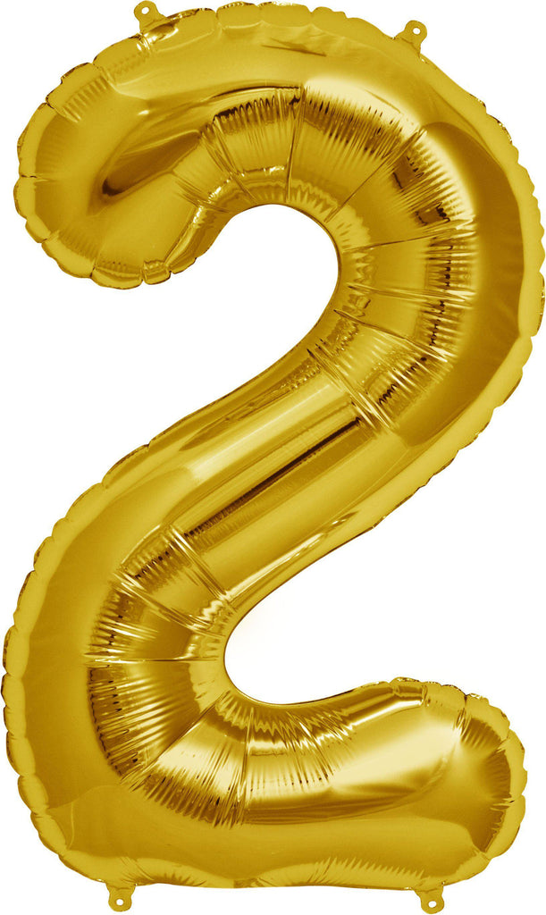 Gold 83cm Jumbo Number 2 Gold Foil Balloon-Party Love