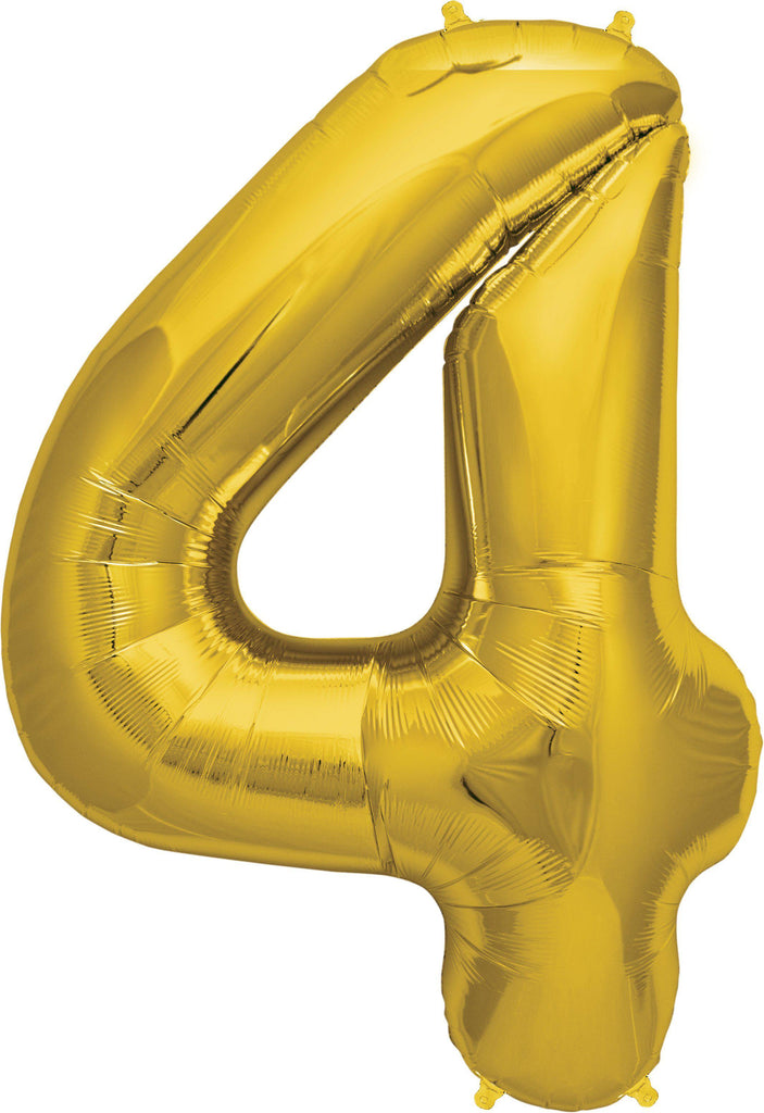 Gold 83cm Jumbo Number 4 Gold Foil Balloon-Party Love