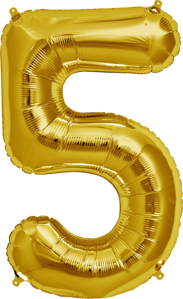 Gold 83cm Jumbo Number 5 Gold Foil Balloon-Party Love