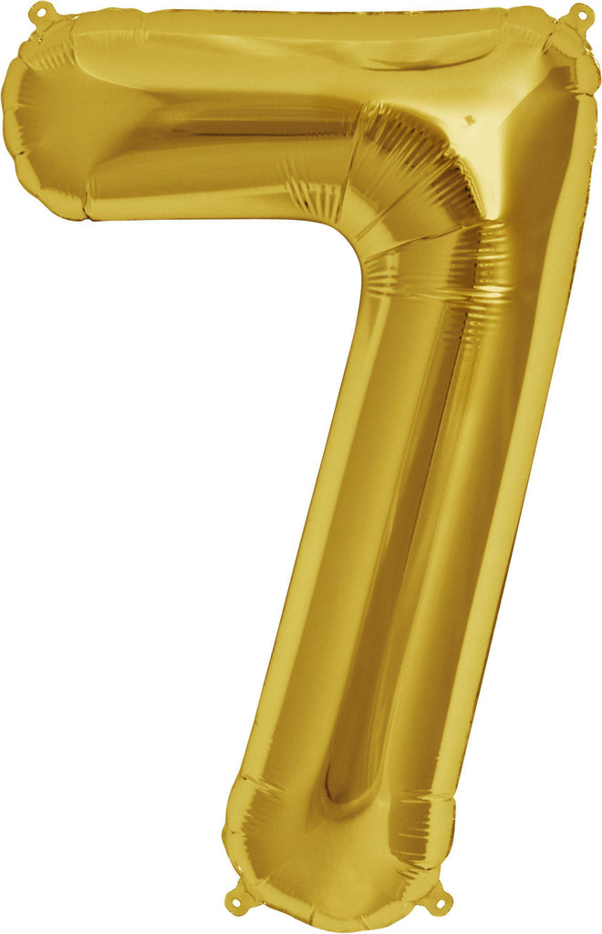 Gold 83cm Jumbo Number 7 Gold Foil Balloon-Party Love