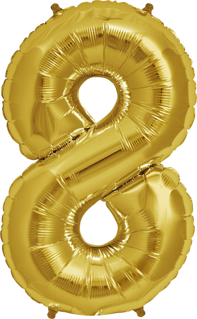 Gold 83cm Jumbo Number 8 Gold Foil Balloon-Party Love