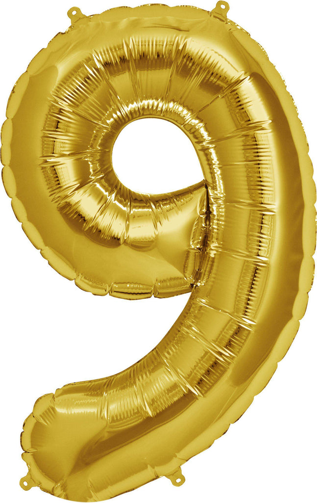 Gold 83cm Jumbo Number 9 Gold Foil Balloon-Party Love