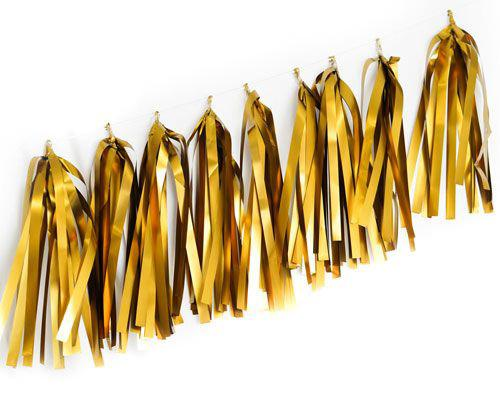 Gold Chrome Balloon Tassels 9 Pack-Party Love