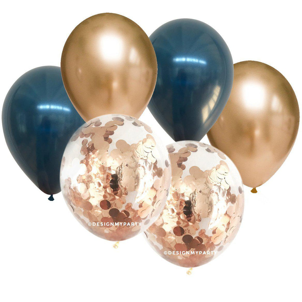 Gold Chrome, Navy, Gold Confetti Balloon Bouquet (12 Pack)-Party Love