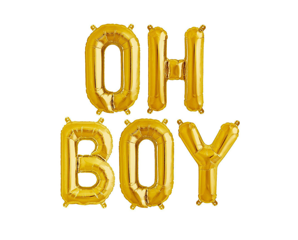 "40cm (16"") Gold Foil Balloon - Oh Boy - Baby Shower Decorations-Party Love"