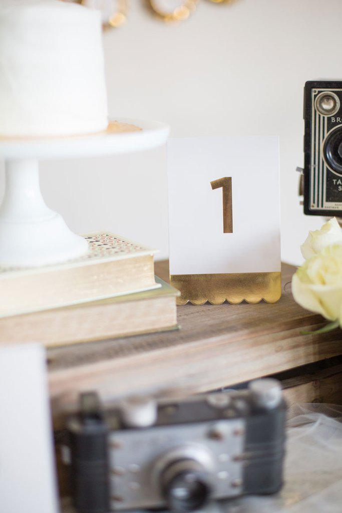 Gold foil fancy table numbers (1-24)-Party Love