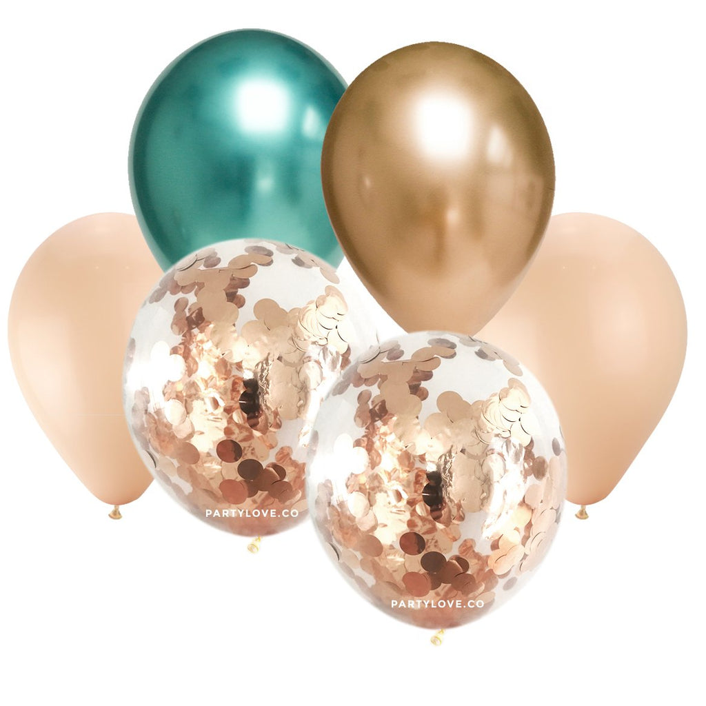 Gold & Green Chrome, Blush Confetti Balloon Bouquet (12 Pack)-Party Love