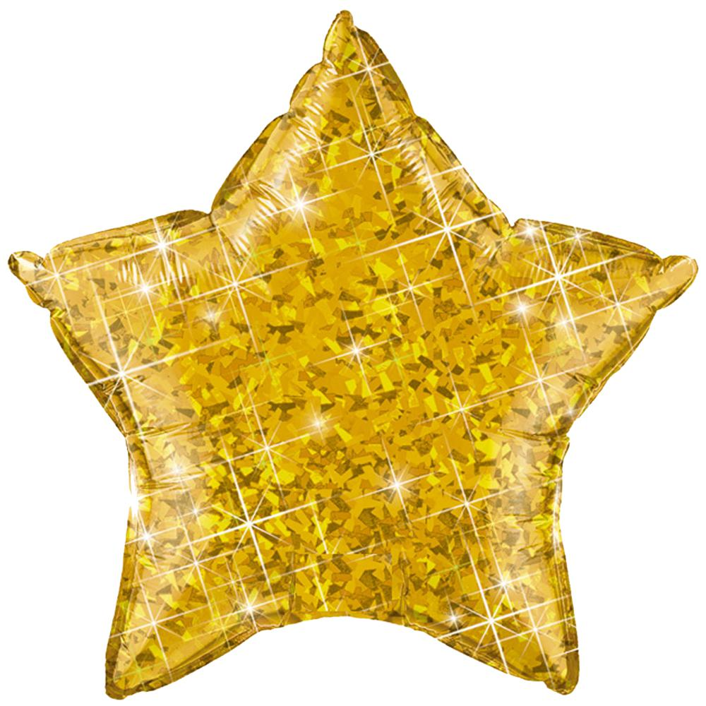"Gold Holographic Star Balloon 20"" (51cm)-Party Love"