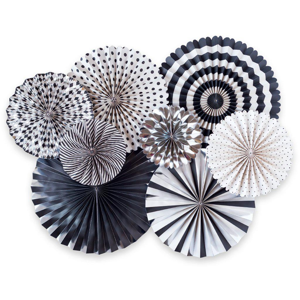 Black, White, Silver Tie Party Fans-Party Love