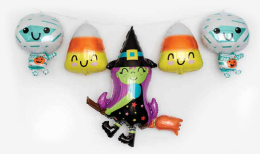 Cute Halloween Witch on Broom Foil Balloon 96cm-Party Love