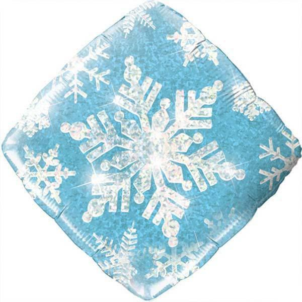 Holographic Foil Snowflakes Sparkles Blue Foil Balloon 45cm-Party Love