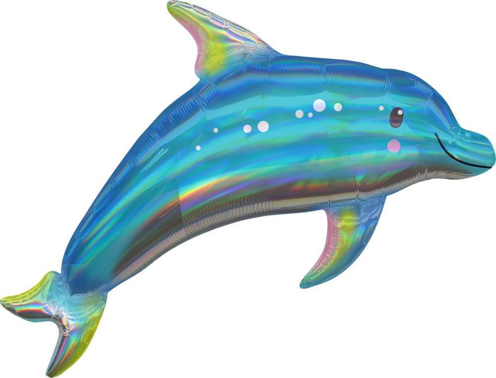 Holographic Iridescent Dolphin Foil Balloon 78cm-Party Love