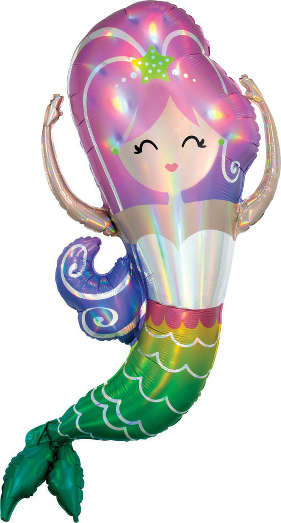 Holographic Iridescent Mermaid Foil Balloon 104cm-Party Love