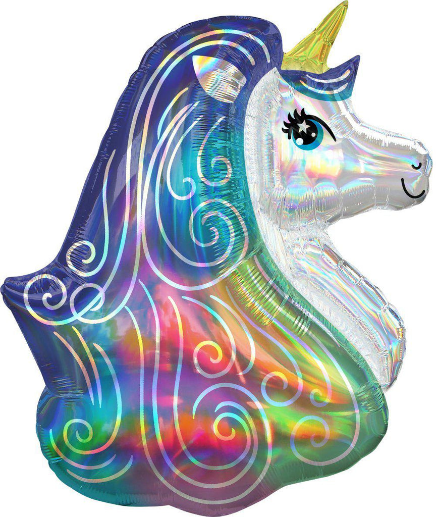 Holographic Iridescent Rainbow Unicorn Foil Balloon 76cm-Party Love