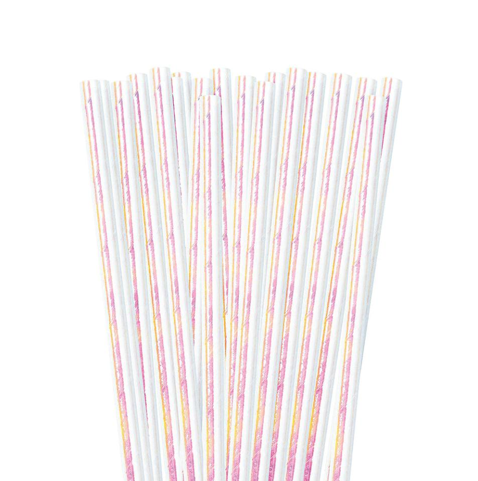 Iridescent Paper Straws (10 Pack)-Party Love