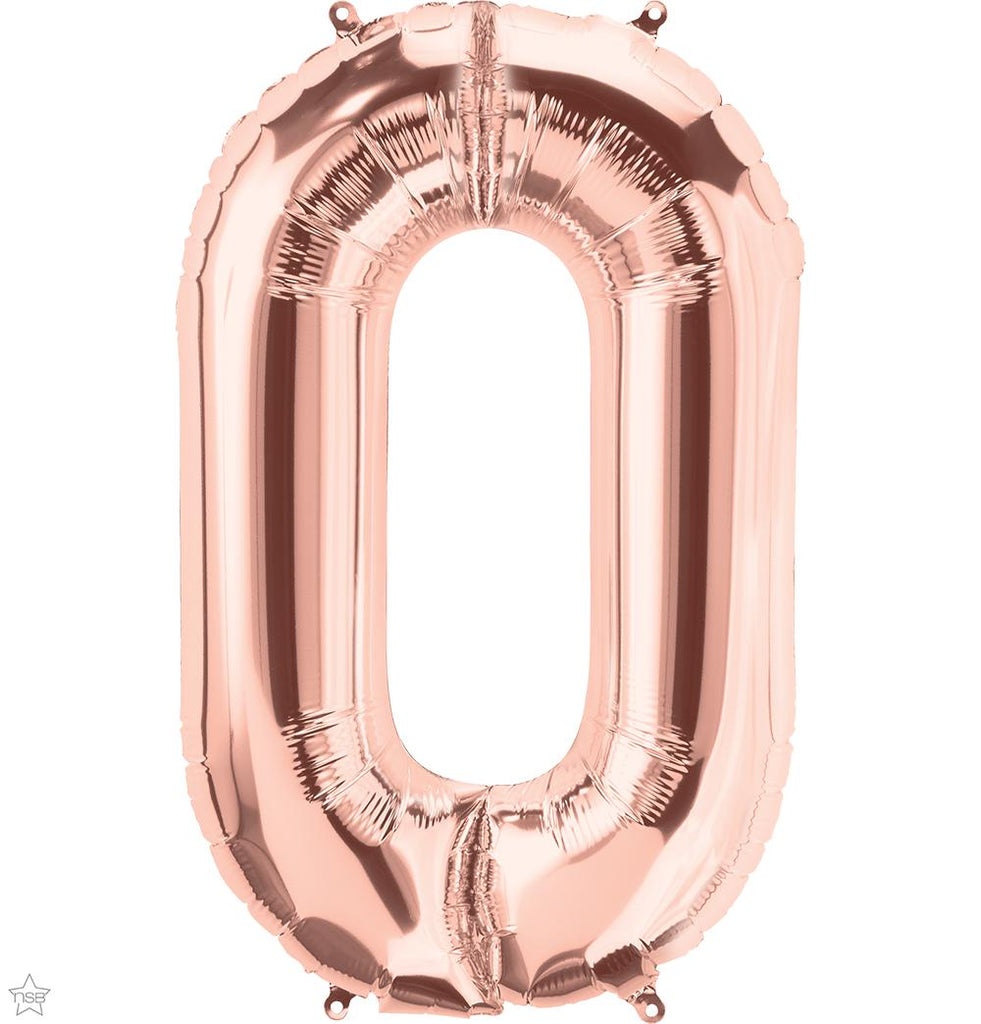"Jumbo 34"" (86cm) Foil Rose Gold Balloon Number 0-Party Love"