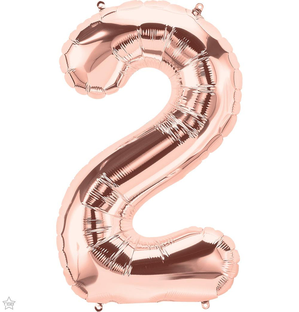 "Jumbo 34"" (86cm) Foil Rose Gold Balloon Number 2-Party Love"