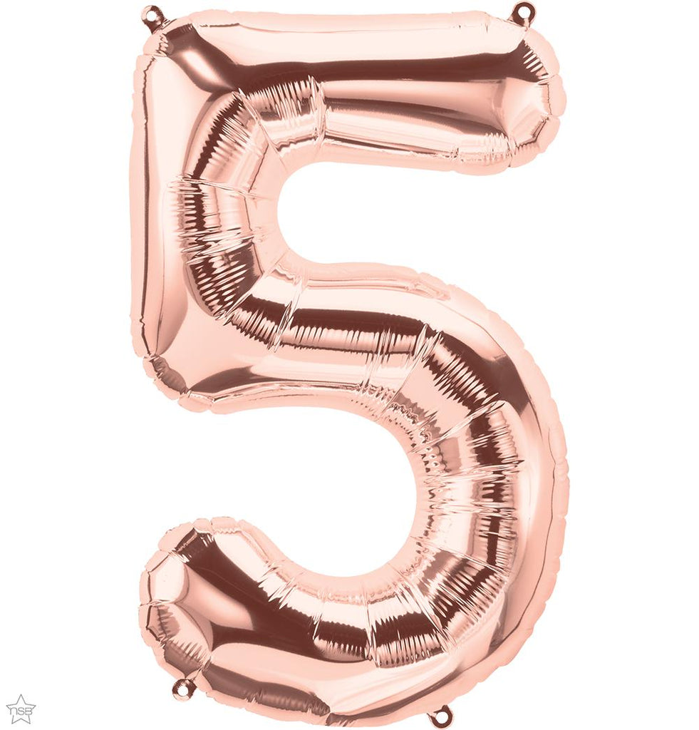 "Jumbo 34"" (86cm) Foil Rose Gold Balloon Number 5-Party Love"