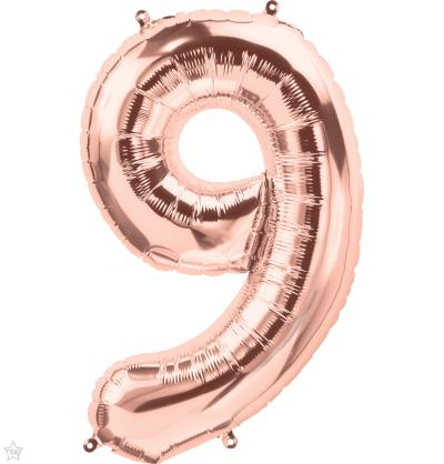 "86cm (34"") Foil Rose Gold Balloon Number 9-Party Love"
